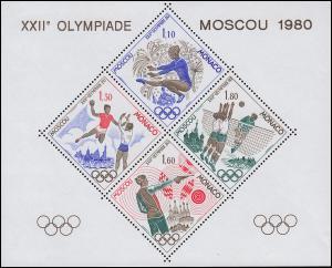 Monaco 1415-1418 Sonderdruck in Blockform Olympia Moskau 1980
