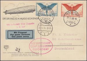 Zeppelinpost LZ 127 Landungsfahrt Bonn 22.4.30 Zuleitung Schweiz auf AK Eckener