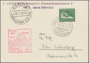 LZ 130 Graf Zeppelin Deutschlandfahrt 16.7.1939 nach Görlitz FRANKFURT/M.16.7.39