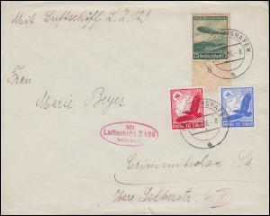 Zeppelinpost LZ 129 von FRIEDRICHSHAFEN 23.3.36 nach Crimmitschau/Sachsen