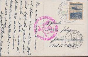 Luftschiff Hindenburg Olympiafahrt 1936 auf AK, FRANKFURT/MAIN 1.8.36