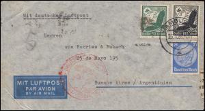 Deutsche Luftpost Europa-Südamerika Lp-Brief HAMBURG 25.1.39 als Zensurbrief