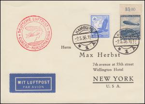 Deutsche Luftpost Europa-Nordamerika Lp-Karte HAMBURG 2.5.36 nach NEW YORK 9.5.
