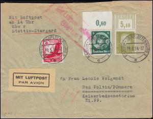 Mit Luftpost befördert Stettin 1 auf Bf. BERLIN-CHARLOTTENBURG 19.5.34 n.Pommern