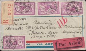 Frankreich 222 Freimarke 3 Fr. auf Lp.-R-Brief PARIS 20.12.29 nach Argentinien