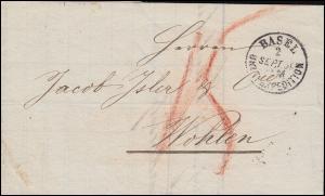 Schweiz 1859: Rechung über Sauerkleesalz, Einkreis BASEL 2.9.59 nach WOHLEN 3.9.
