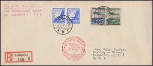 Zeppelinpost Luftschiff Hindenburg von STUTTGART 6.5.36 in die USA