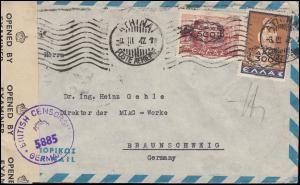 Zensurpost aus Griechenland nach Deutschland mit 514a+526 Brief ATHEN 8.3.1947