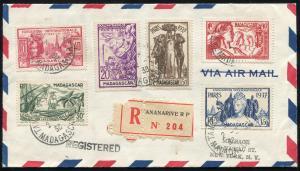 Madagaskar 240-245 Weltausstellung Paris, Satz-R-Brief TANANARIVE 2.2.1938