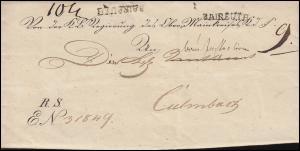 Bayern Vorphilatelie 1835: Faltbrief Einzeiler BAIREUTH nach Kulmbach