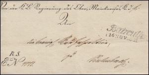 Bayern Vorphilatelie 1831: Brief Zweizeiler Baireuth 16. NOV. 1831 nach Kulmbach