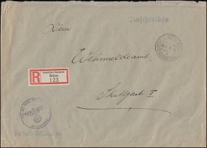 Frei durch Ablösung Reich Deutsche Dienstpost R-Brief BRÜNN 6.3.40 n. STUTTGART