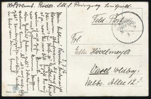 DEUTSCHE MARINE-SCHIFFSPOST 3.7.1916 Feldpost nach Varel auf AK Deutscher Sommer