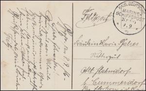 DEUTSCHE MARINE-SCHIFFSPOST No 80 (?) - 8.9.16 als Feldpost auf Kriegsmarine-AK