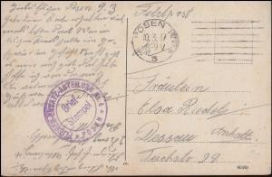 Feldpost Briefstempel Flieger-Ersatz-Abteilung 4 Posen 10.3.17 auf AK Liegnitz