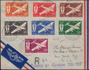 Zensur Saint-Pierre und Miquelon 10.10.42 auf Lp.-Brief 317-323 Flugzeug-Satz
