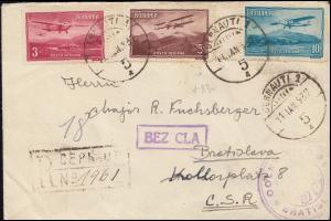 Rumänien 420ff Flugpost Flugzeuge R-Brief CERNAUTI 11.1.37 nach Bratislava/CSR