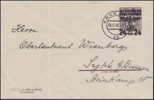Generalgouvernement 22 Polen mit Aufdruck EF auf Brief KRAKAU 9.11.40 nach Syke