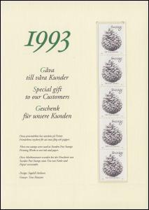 Schweden PFA-Jahresgabe 1993: Zapfen der Waldkiefer, nicht frankaturgültig