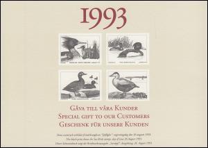 Schweden PFA-Jahresgabe 1993: Seevögel, Satz als Schwarzdruck / Sonderdruck