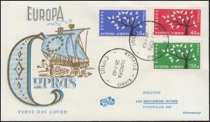 Zypern 215-217 CEPT Europa - Satz auf FIDACOS-Schmuck-FDC 28.1.1963
