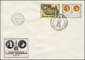 Ungarn 3206B+Zf Stadt Sopron - ungezähnt mit Zierfeld auf Schmuck-FDC 25.6.1977