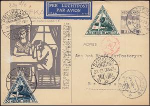 KLM-Flugpost Postjager PELIKAAN Amsterdam-Bondoeng-Amsterdam, ROTTERDAM 7.12.33