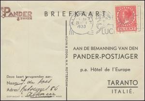 KLM-Flugpost Postjager Amsterdam-Bandoeng-Amsterdam ALKMAAR 21.12.33 n. Taranto