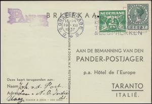 KLM-Flug Postjager/Pelikaan Amsterdam-Bandoeng-Amsterdam S'GRAVENHAGE 19.12.34