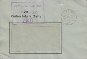ZKD-Fensterbrief VEB Zuckerfabrik ZEITZ 25.5.65, schwacher Ankunftsstempel 26.5.