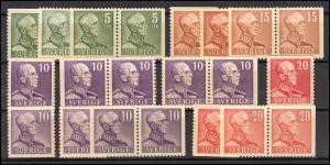 255-258 König Gustaf V. - in allen Zähnungsvarianten komplett, Set **