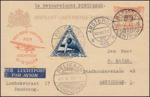 KLM-Flugpost 1. Rückflug Postjager 27.12.33 ab Batavia 11.12. - Amsterdam 30.12.