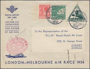 KLM-Flugpost NL-Australien LONDON-MELBOURNE AIR RACE Brief ab HAARLEM 15.10.1934