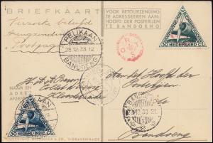 KLM-Flugpost Postjager/Pelikaan Amsterdam-Bandoeng-Amsterdam, BANGOENG 22.12.33