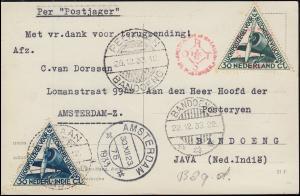 KLM-Flugpost Postjager/Pelikaan Amsterdam-Bandoeng-Amsterdam PH-OST 9.12.1933