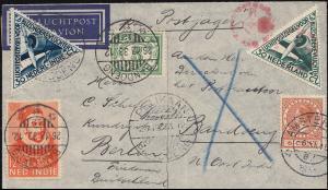 KLM-Flugpost Postjager/Pelikaan über Brindisi nach Bandoeng ab AMSTERDAM 8.12.33