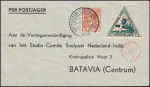 KLM-Flugpost Postjager/Pelikaan Amsterdam-Batavia, AMSTERDAM-CENTRAL. 1.12.1933