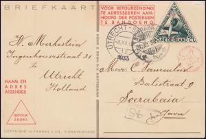 KLM-Flugpost Postjager/Pelikaan Amsterdam-Bandoeng 9.12.1933 ab UTRECHT 8.12.33