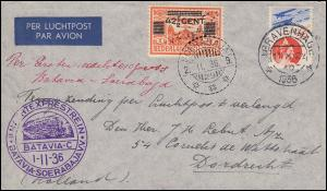 KLM-Flugpost mit 1. Nachtexpress-Zug Batavia-Soerabaja 1.11.1936 DEN HAAG 11.10.