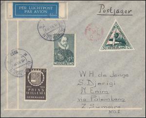 KLM-Flugpost Postjager/Pelikaan Amsterdam-Palembang 9.12.33, ab GRONINGEN 6.12.