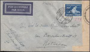 Zensur Flugpost Soerabaja-Amsterdam über Nepal, Brief ab SOERABAJA 29.4.1940