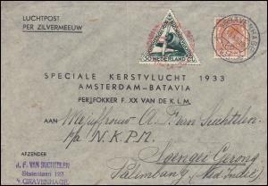 KLM-Flugpost Zilvermeeuw/Pelikaan Amsterdam-Batavia-Palembang 18.12.1933