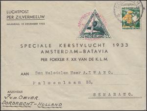 KLM-Flugpost Zilvermeeuw/Pelikaan Amsterdam-Semarang, Brief ab DORDRECHT 16.12.