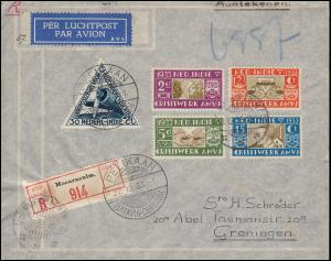 KLM-Flugpost Pelikaan Batavia-Amsterdam 27.12.1933, R-Brief MOEARAENIM 13.12.33