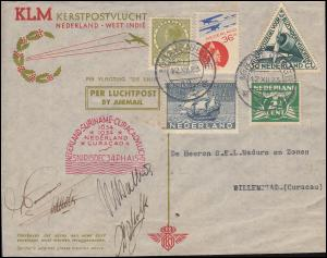 KLM-SNIP-Flug 15.12.34 Amsterdam-Willemstad, Brief mit Autogrammen der Besatzung