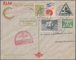 KLM-SNIP-Flug 15.12.34 Amsterdam-Willemstad, Brief ab S'GRAVENHAGE 12.12.1934