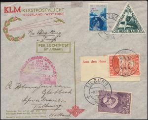 KLM-SNIP-Flug 15.12.34 Amsterdam-Willemstad und retour, ab TILBURG 8.12.1934