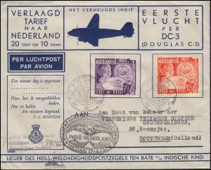 1. KLM-Flug Douglas DC-3 PH-ALS SPECHT Medan-Amsterdam nach Zeitplan 17.6.1937