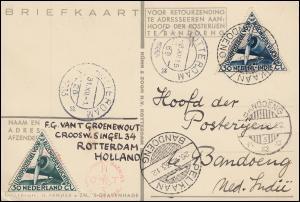 KLM-Flugpost Postjager/Pelikaan Amsterdam-Bandoeng 9.12.1933, ab ROTTERDAM 6.12.
