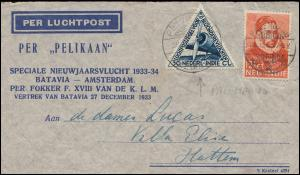 KLM-Flugpost Pelikaan Neujahrsflug 1933-34 Batavia-Amsterdam FOKKER 27.12.33
